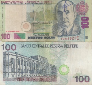 Picture of Peru's 100 soles note