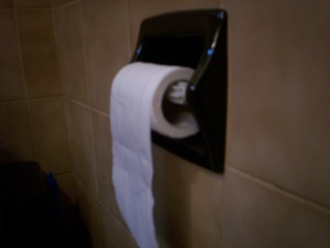 Toilet paper in the over-the-roll configuration