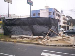 Construction around bust of Raul Ferrero