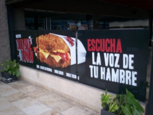 Picture of a Double Down banner for KFC
