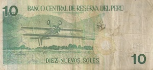 Reverse of an older 10 soles note from Peru