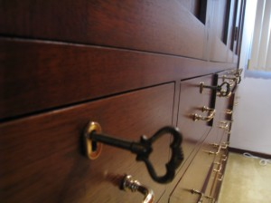 Close up of keys for bedroom closet