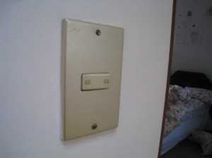 Light switch in a house in Lima, Peru