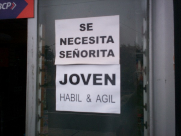 Updated sign outside art supply store in Lima, Peru