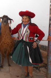 Photo of woman and llama