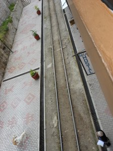 Train tracks outside hostel in Aguas Calientes