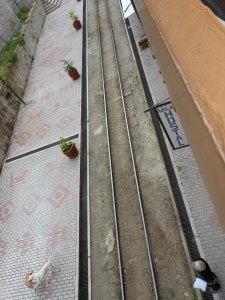 Train tracks outside hostel in Aguas Calientes