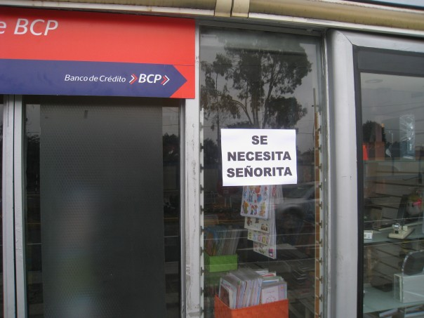 Sign outside art supply store in Lima, Peru
