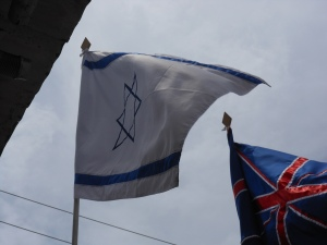 Flags of Israel and Great Britian in Inka Market in Lima, Peru