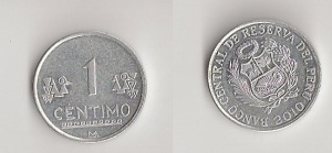 One centimo coin from Peru