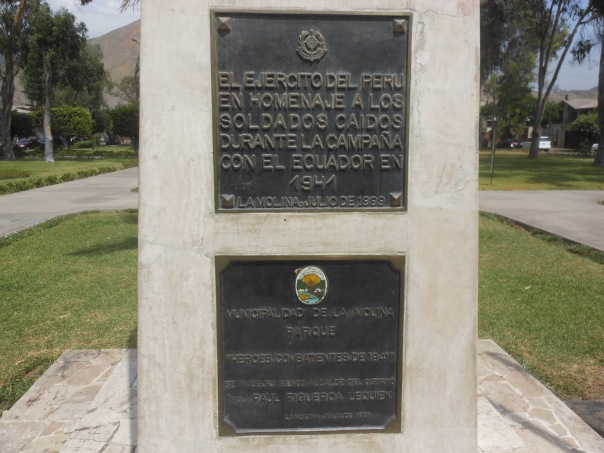 Plaque honoring those who served in Peru-Ecuador war in 1941