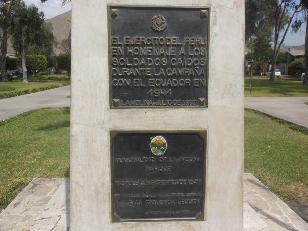 Plaque honoring those who served in Peru-Ecuador war in 1941