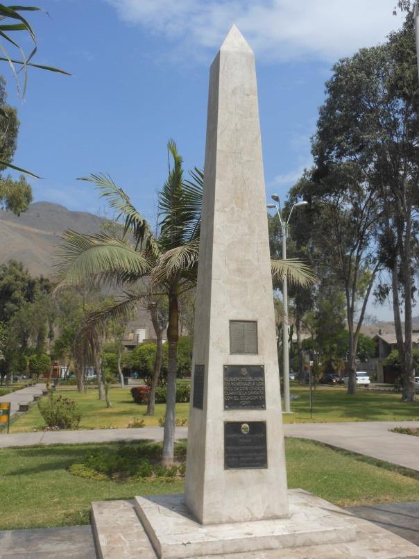 Obelisk in park in suburb of Lima, Peru