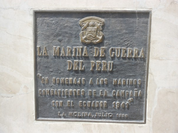 Plauqe honoring the Navy in Peru-Ecuador 1941 war