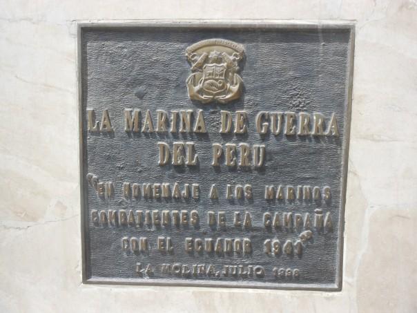Plauqe honoring the Navy in Peru-Ecuador 1941 war