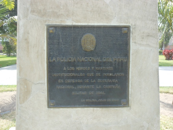 Plaque honoring National Police during 1941's Peru-Ecuador war