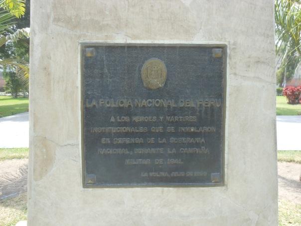 Plaque honoring National Police during 1941's Peru-Ecuador war