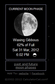 Screen shot of moon phase for March 31 2012