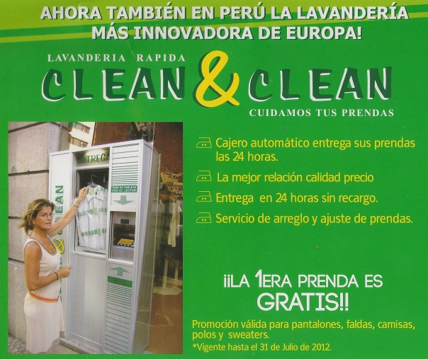 Ad for dry-cleaning service in Lima, Peru