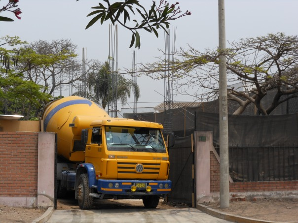 Cement truck at Lima construction site
