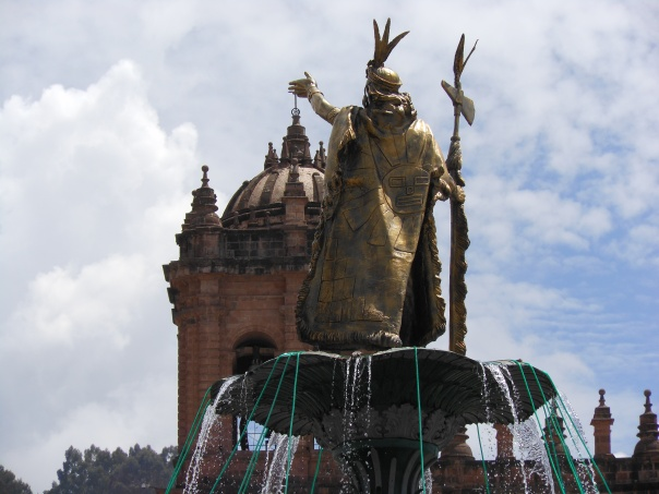 Statue of Inca in Cusco's Plaza de Armas