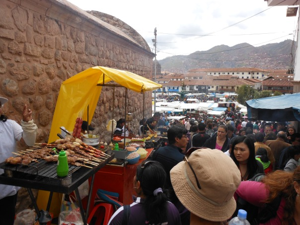 Food market stall off Plaza de Armas in Cusco, Peru