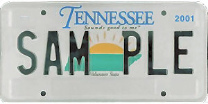 Tennessee license plate sample