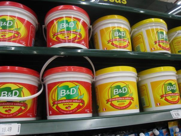 Buckets of ketchup and mustard