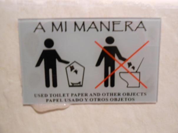 Sign in bathroom in Cusco, Peru