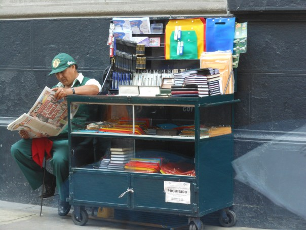 Office supply vendor on the streets of Lima, Peru
