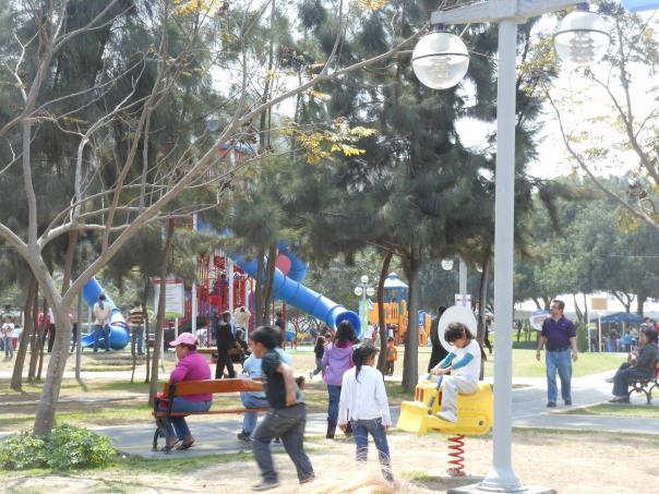 Scene in park in Lima, Peru