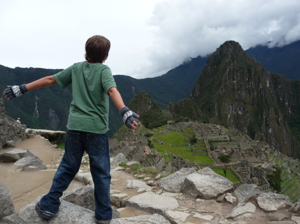 Son at Machu Picchu