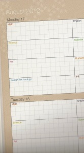 Crop of School planner - August 2012