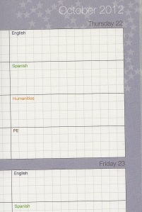 Crop of School Planner - October