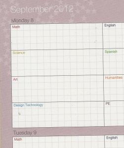 Crop of School Planner - September