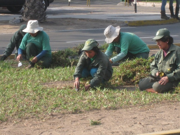 Workers in Lima, Peru