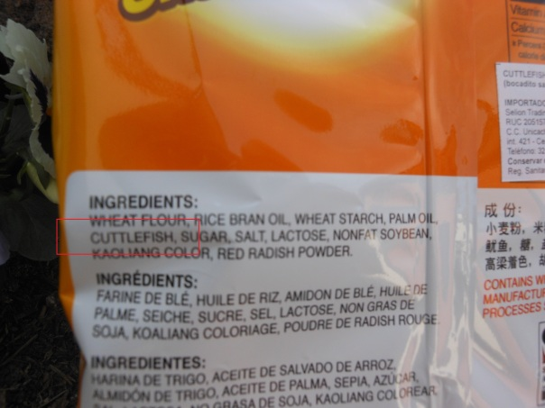 Ingredients of cuttlefish snack