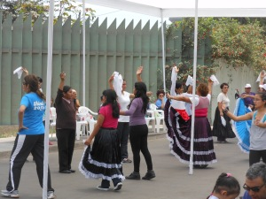 People practicing a dance in Peru