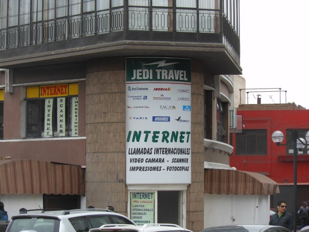 Travel agency sign in Lima, Peru