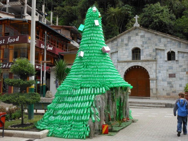 Christmas tree comprised of soda bottles