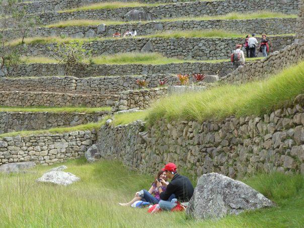 People resting at Machu Picchu