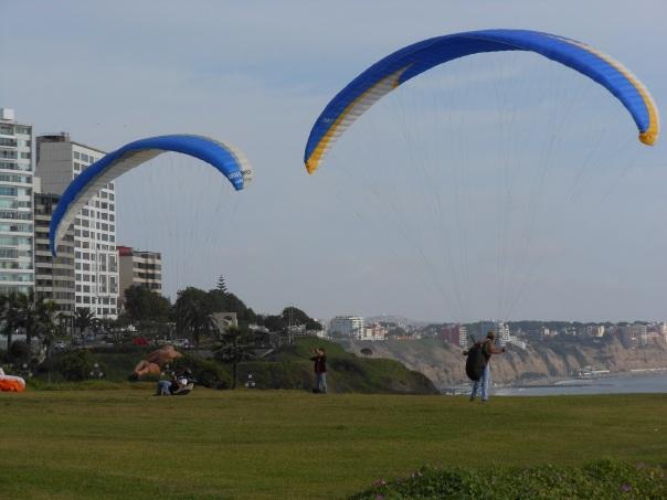 Paragliders in Miraflores, Peru