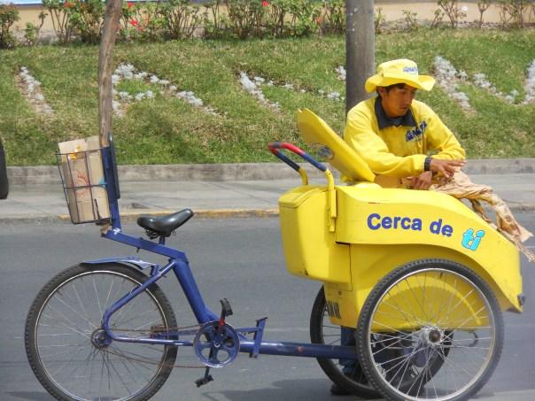 Ice cream seller in Peru