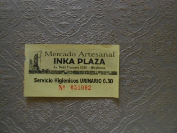 Receipt to use restroom in Peruvian market