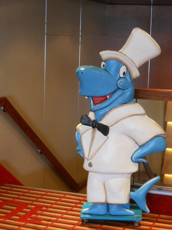 Cruise ship mascot all dressed up